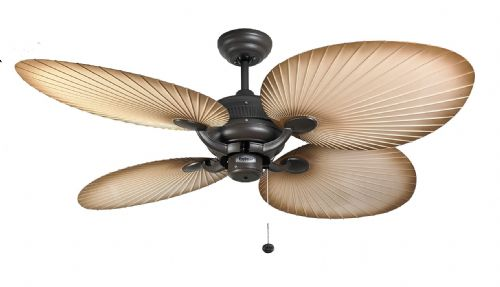 "Fantasia Palm 52"" Chocolate Brown Natural Acrylic Blade Ceiling Fan 111665"